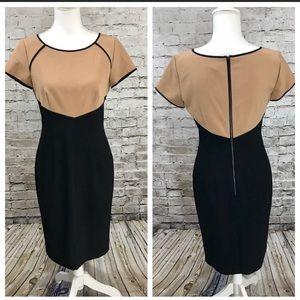 Ann Taylor tan & black dress